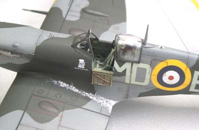 weathered Spitfire model airplane, 2